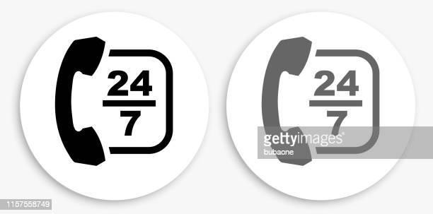 24/7 カスタマーサービス 白黒丸いアイコン - 24時間営業点のイラスト素材/クリップアート素材/マンガ素材/アイコン素材
