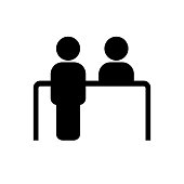 Customer service desk icon. Reception symbol