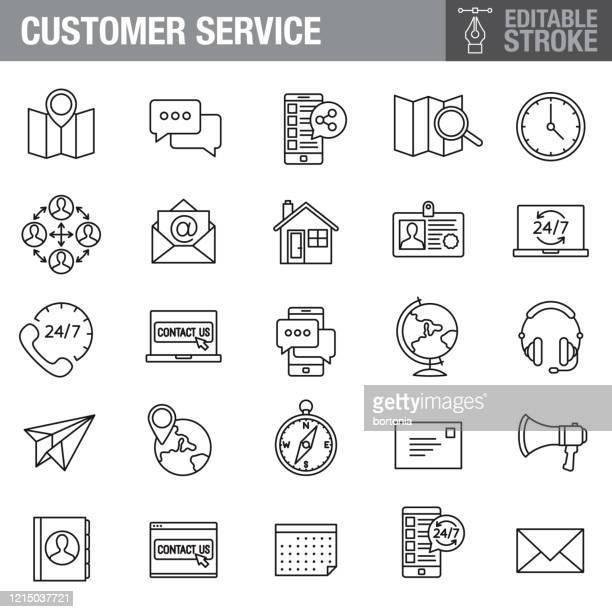customer service editable stroke icon set - 24 7 stock illustrations