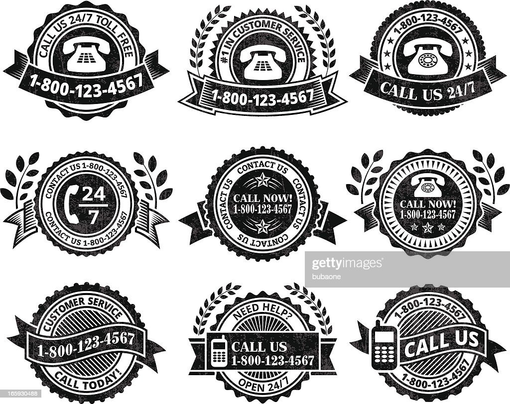Customer Service Help line black & white vector icon set : stock illustration