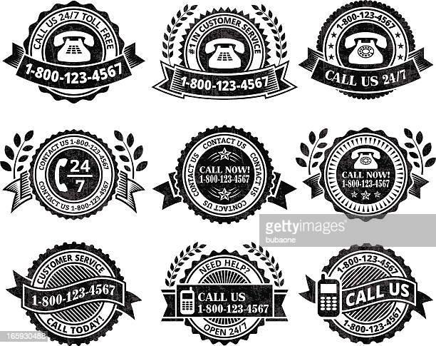 ilustrações, clipart, desenhos animados e ícones de o atendimento ao cliente, ajuda linha preto & branco, vector conjunto de ícones - great seal