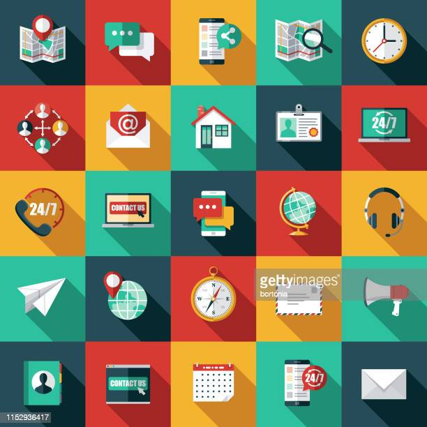 customer service icon set - group of objects stock illustrations
