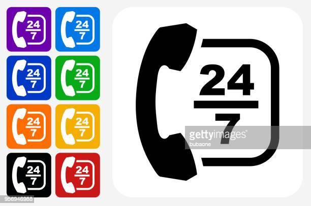 24/7 カスタマー サービス アイコン スクエア ボタン セット - 24時間営業点のイラスト素材/クリップアート素材/マンガ素材/アイコン素材
