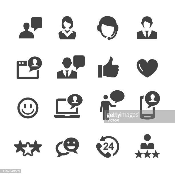 illustrazioni stock, clip art, cartoni animati e icone di tendenza di customer service icons - acme series - sostegno morale
