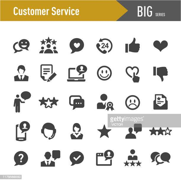 stockillustraties, clipart, cartoons en iconen met klanten service icons-big series - tevreden