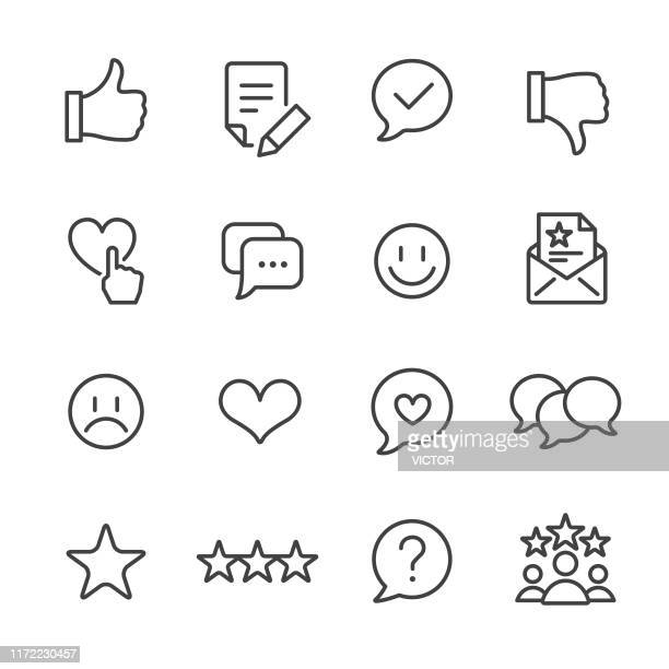 customer service icons set - line series - like button stock illustrations