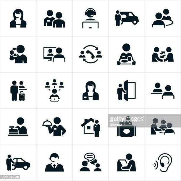 customer service icons - greeting stock illustrations