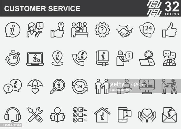 customer service line icons - information medium stock illustrations