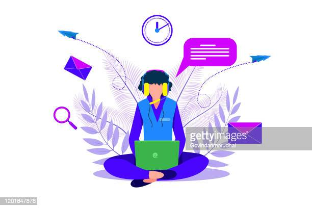 illustrazioni stock, clip art, cartoni animati e icone di tendenza di servizio clienti, ufficio supporto telefonico e freelancer che lavora - reggere