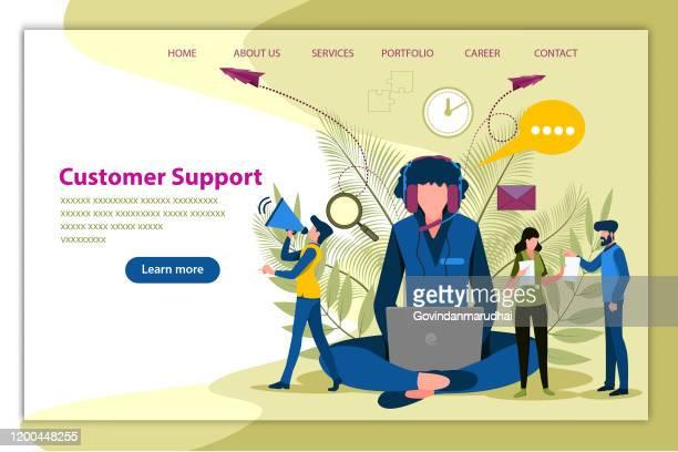 illustrazioni stock, clip art, cartoni animati e icone di tendenza di servizio clienti, ufficio supporto telefonico - reggere