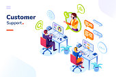Customer service, phone support office with people