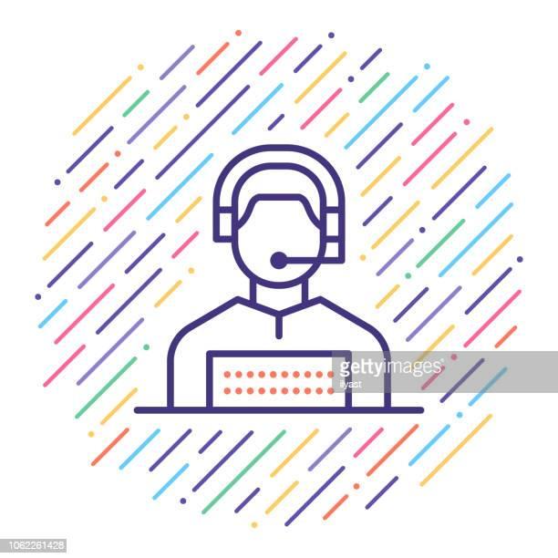 customer service representative liniensymbol illustration - telefonist stock-grafiken, -clipart, -cartoons und -symbole