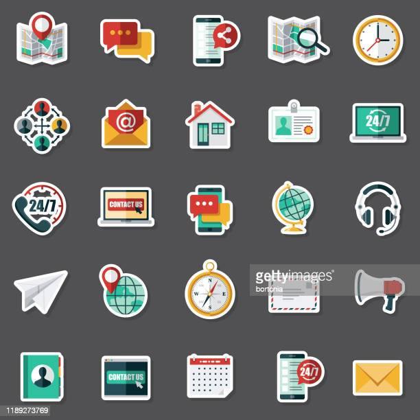 kundenservice-aufkleber-set - adressbuch stock-grafiken, -clipart, -cartoons und -symbole