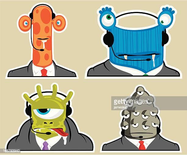 customer service team - cyclops stock illustrations, clip art, cartoons, & icons
