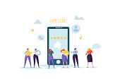 Customer Service Technical Support 24h Concept. Operator Online Characters Talking with Clients by Headset. Helpline Center. Vector illustration