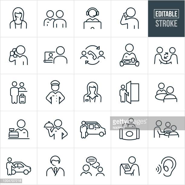customer service thin line icons - editable stroke - discussion stock illustrations