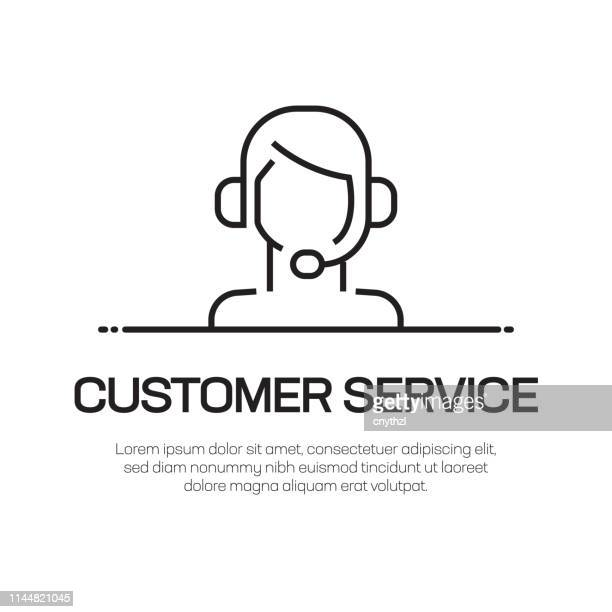 customer service vector line icon - simple thin line icon, premium quality design element - cross section stock illustrations