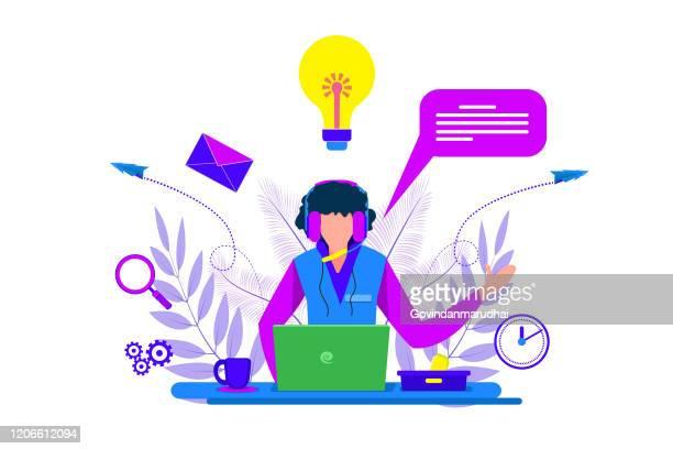 illustrazioni stock, clip art, cartoni animati e icone di tendenza di assistenza clienti e assistenza, call center - call center
