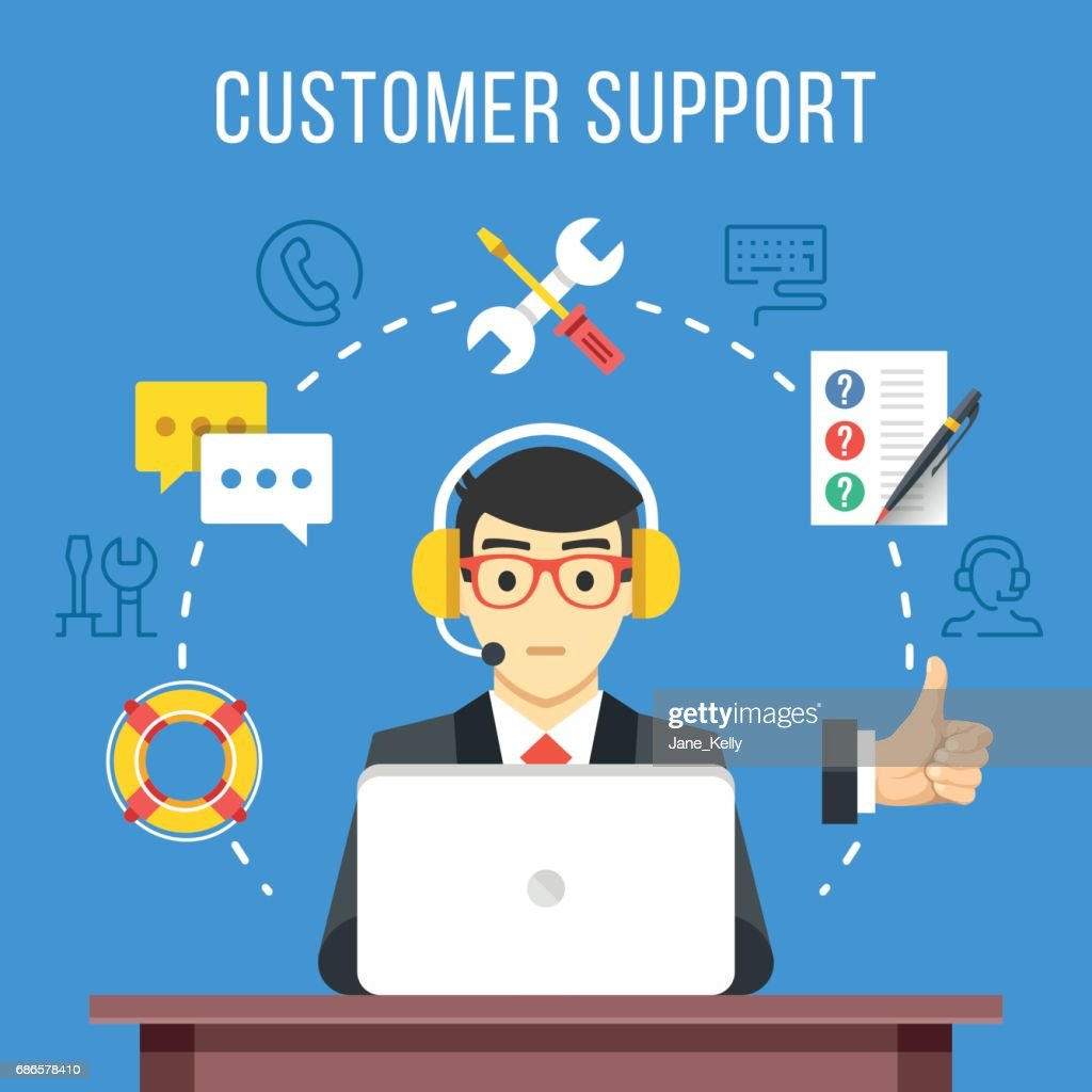 Customer support. Call center operator with headset at computer. Flat icons and thin line icons set, modern flat design graphic elements. Vector illustration