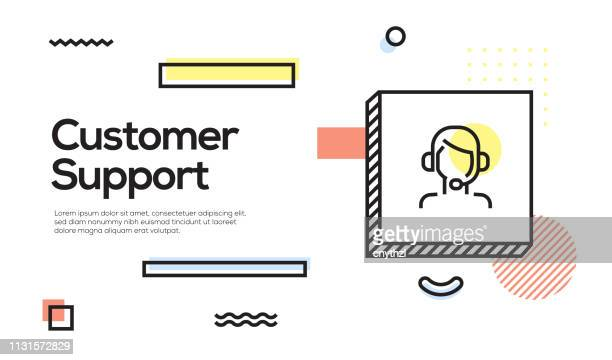 customer support concept. geometric retro style banner and poster concept with customer support icon - customer service representative stock illustrations, clip art, cartoons, & icons