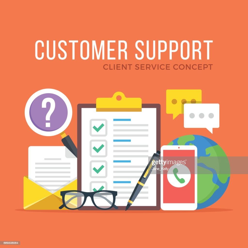 Customer support. Customer service, client service, IT, feedback, technical support concepts. Flat design graphic elements set. Modern concepts. Vector illustration
