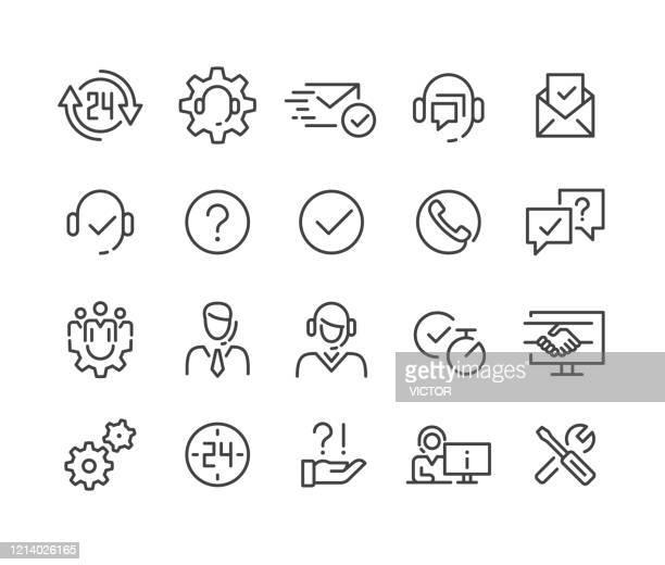 stockillustraties, clipart, cartoons en iconen met pictogrammen voor klantenservice - classic line-serie - dienstverlening