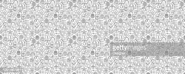 illustrazioni stock, clip art, cartoni animati e icone di tendenza di modello e sfondo senza soluzione di continuità correlati all'assistenza clienti con icone di linea - messaggistica online