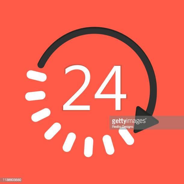 24/7 カスタマーサポートサービスアイコン - 昼間点のイラスト素材/クリップアート素材/マンガ素材/アイコン素材