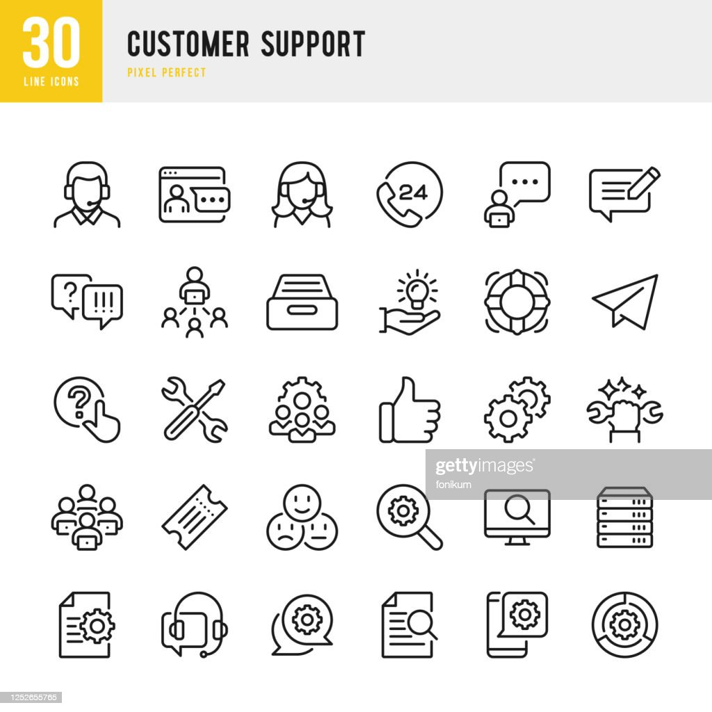 Customer Support - thin line vector icon set. Pixel perfect. The set contains icons: Contact Us, Life Belt, Support, 24 Hrs Telephone, Text Messaging, Ticket. : stock illustration