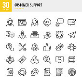 Customer Support - thin line vector icon set. Pixel perfect. The set contains icons: Contact Us, Life Belt, Support, 24 Hrs Telephone, Text Messaging, Ticket.