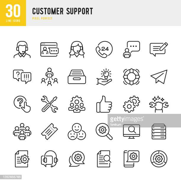 customer support - thin line vector icon set. pixel perfect. the set contains icons: contact us, life belt, support, 24 hrs telephone, text messaging, ticket. - assistance stock illustrations