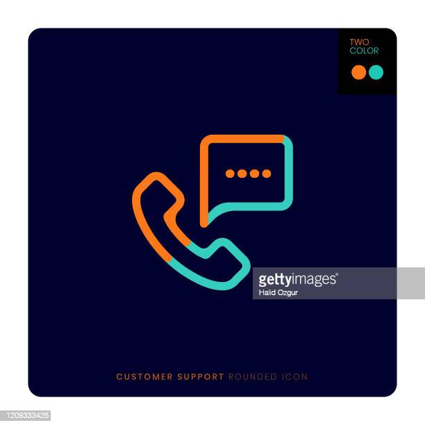 customer support two coloured flat line and round icon illustration - two tone color stock illustrations