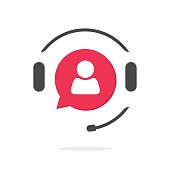 Customer support vecot icon, phone assistant logo