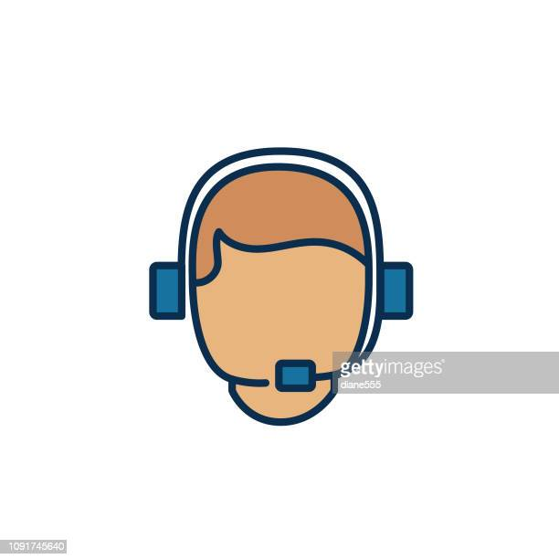 Customer Support Webpage User Interface Icon In Thin Line Style