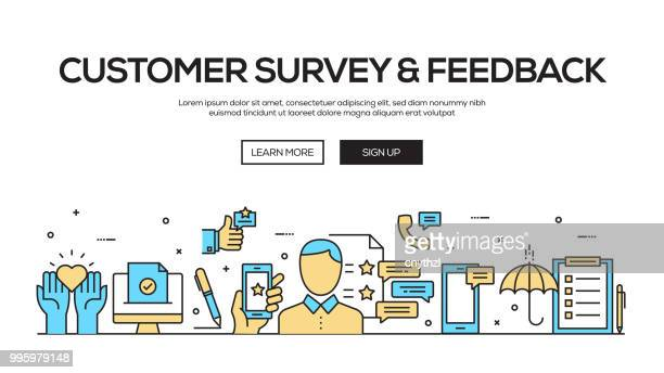 customer survey and feedback flat line web banner design - questionnaire stock illustrations