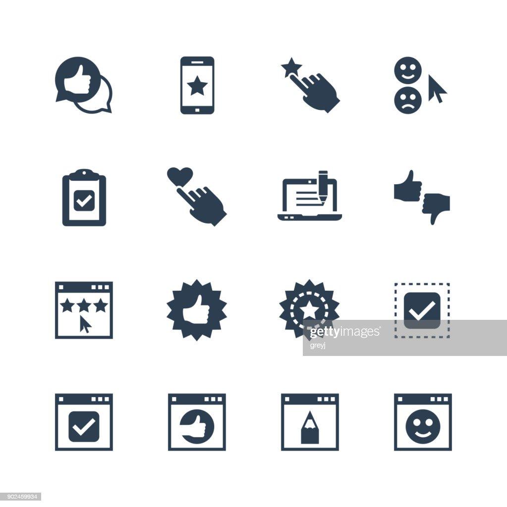 Customer testimonials vector icon set