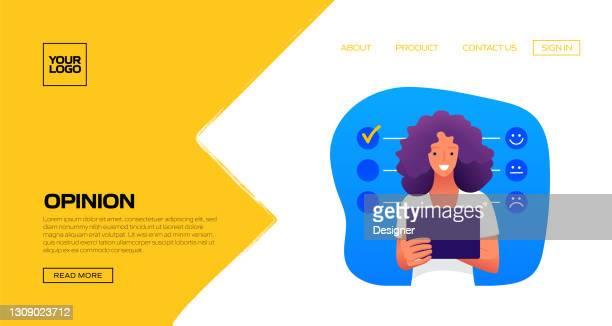 illustrazioni stock, clip art, cartoni animati e icone di tendenza di informazioni sui clienti concetto illustrazione vettoriale per modello di pagina di destinazione, banner del sito web, materiale pubblicitario e di marketing, pubblicità online, presentazione aziendale ecc. - questionario