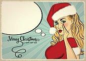 Customizable beautiful retro Christmas card with sexy pin up San