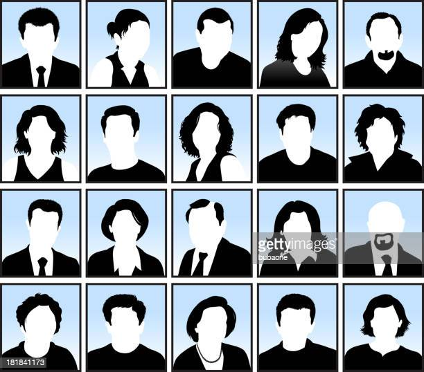 customized faces with hairstyles black & white vector icon set - balding stock illustrations, clip art, cartoons, & icons