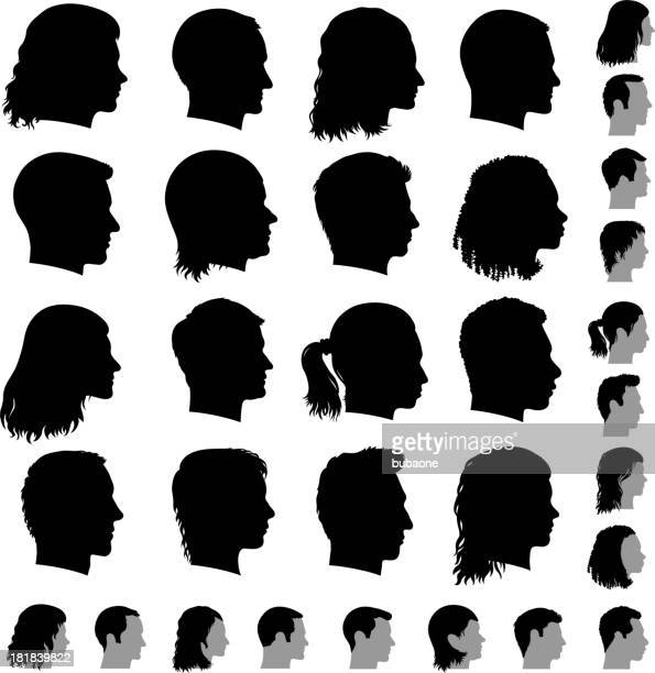 Customized Profile of Faces black & white vector icon set