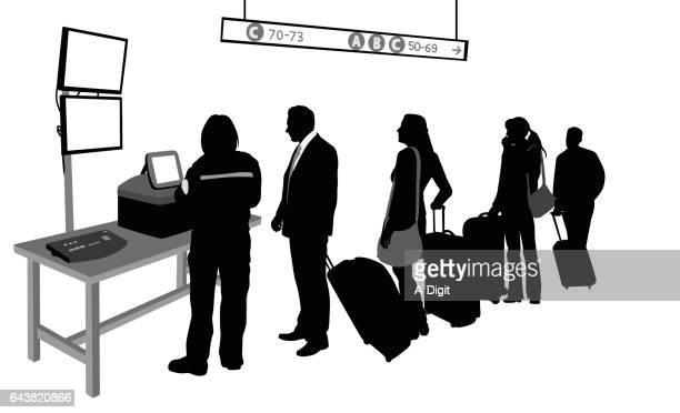 customs bag check - airport terminal stock illustrations, clip art, cartoons, & icons