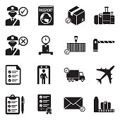 Customs Icons. Black Flat Design. Vector Illustration.
