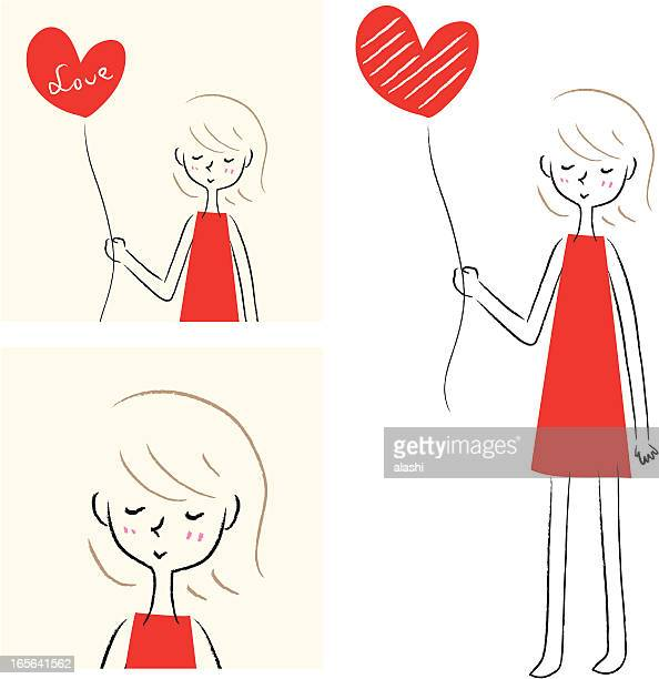 Cut Girl holding heart-shaped balloon