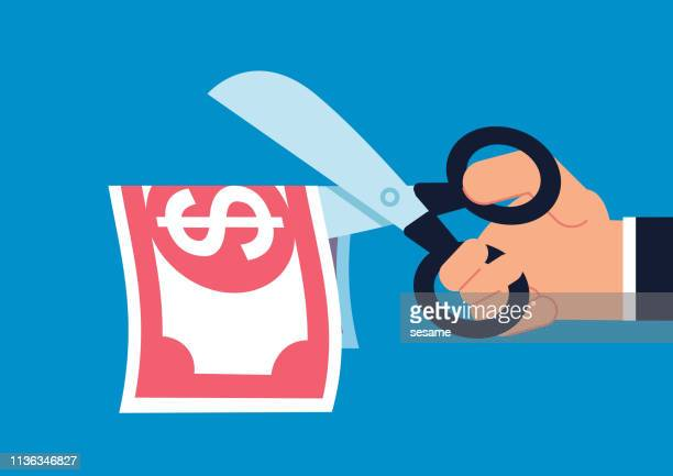 cut, hand holding scissors cut paper money - cutting stock illustrations