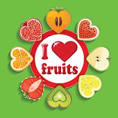 Cut of fruits and berries in Sign I love fruits