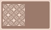 Cut out cards with lace pattern. Modern geometric card for laser cutting. Vector illustration. skin tone color