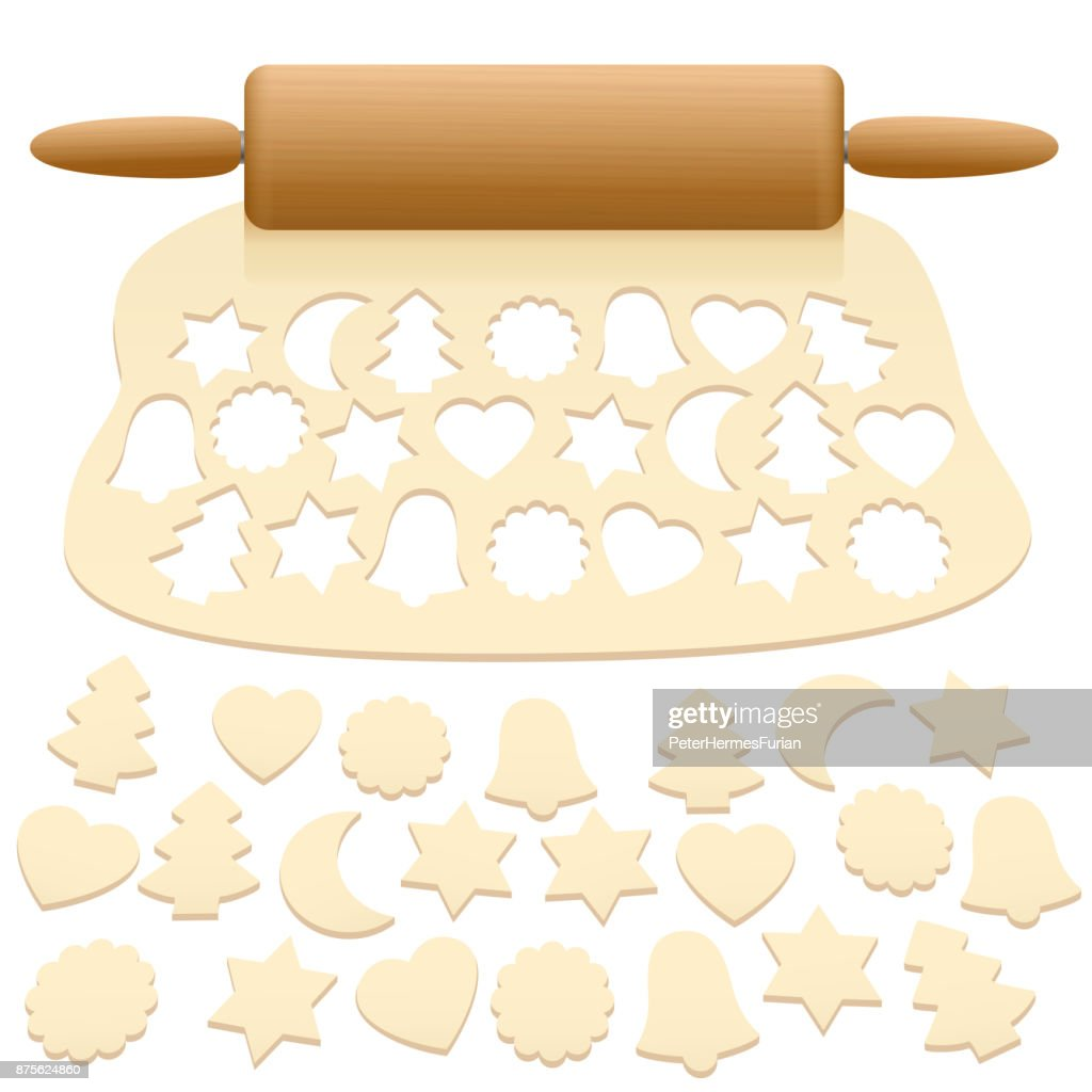 Cut out christmas cookies from raw pastry dough - isolated vector illustration on white background.