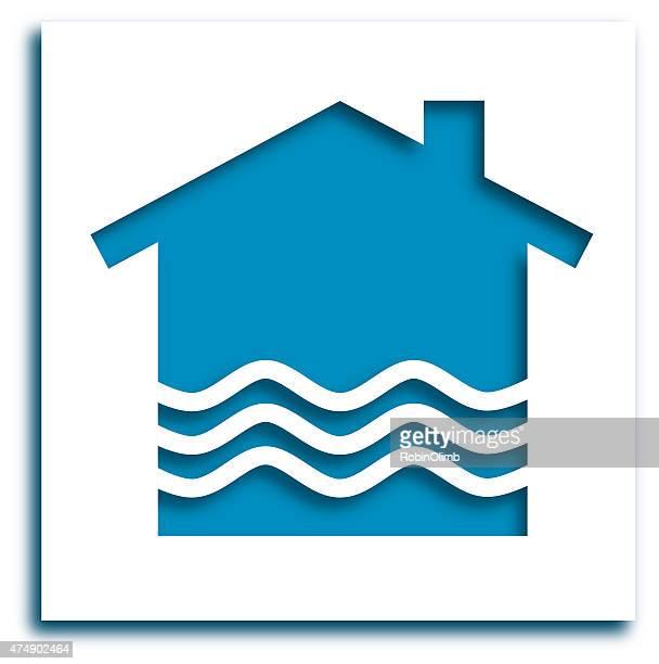 Cut Out Flooding House Icon