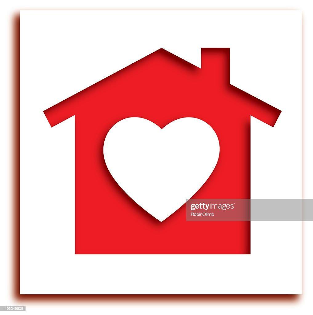 Cut Out Heart House Icon