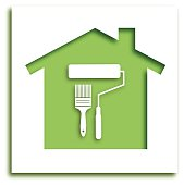 Cut Out PaintBrush House Icon